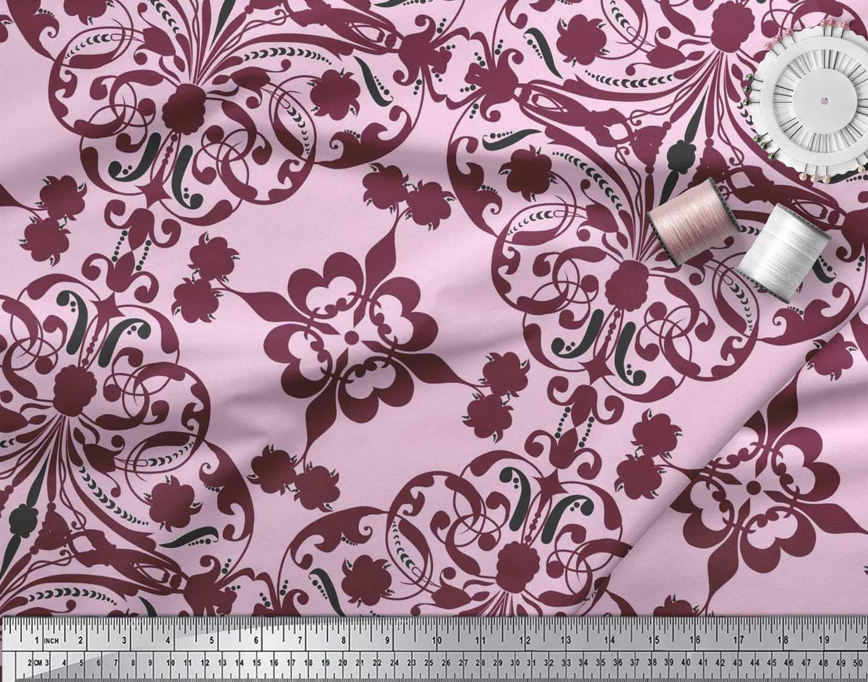 Soimoi-Pink-Cotton-Poplin-Fabric-Moroccan-Damask-Printed-Fabric-mze thumbnail 4