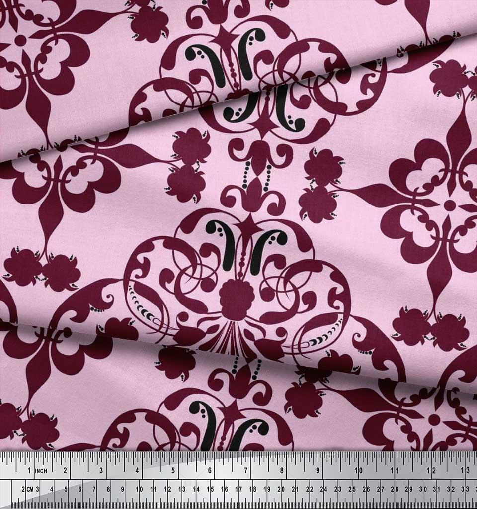 Soimoi-Pink-Cotton-Poplin-Fabric-Moroccan-Damask-Printed-Fabric-mze thumbnail 3