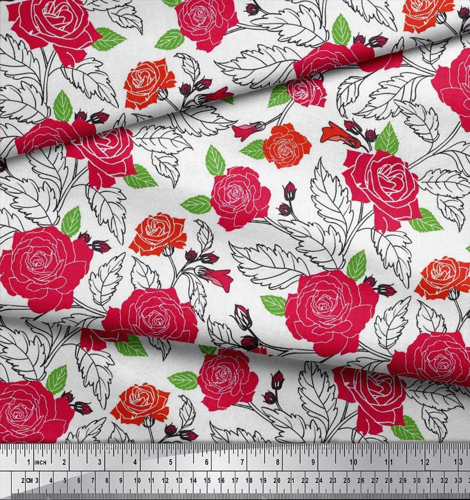 Soimoi-Cotton-Poplin-Fabric-Leaves-amp-Rose-Floral-Printed-Craft-Fabric-pUS thumbnail 3