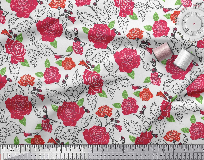 Soimoi-Cotton-Poplin-Fabric-Leaves-amp-Rose-Floral-Printed-Craft-Fabric-pUS thumbnail 4