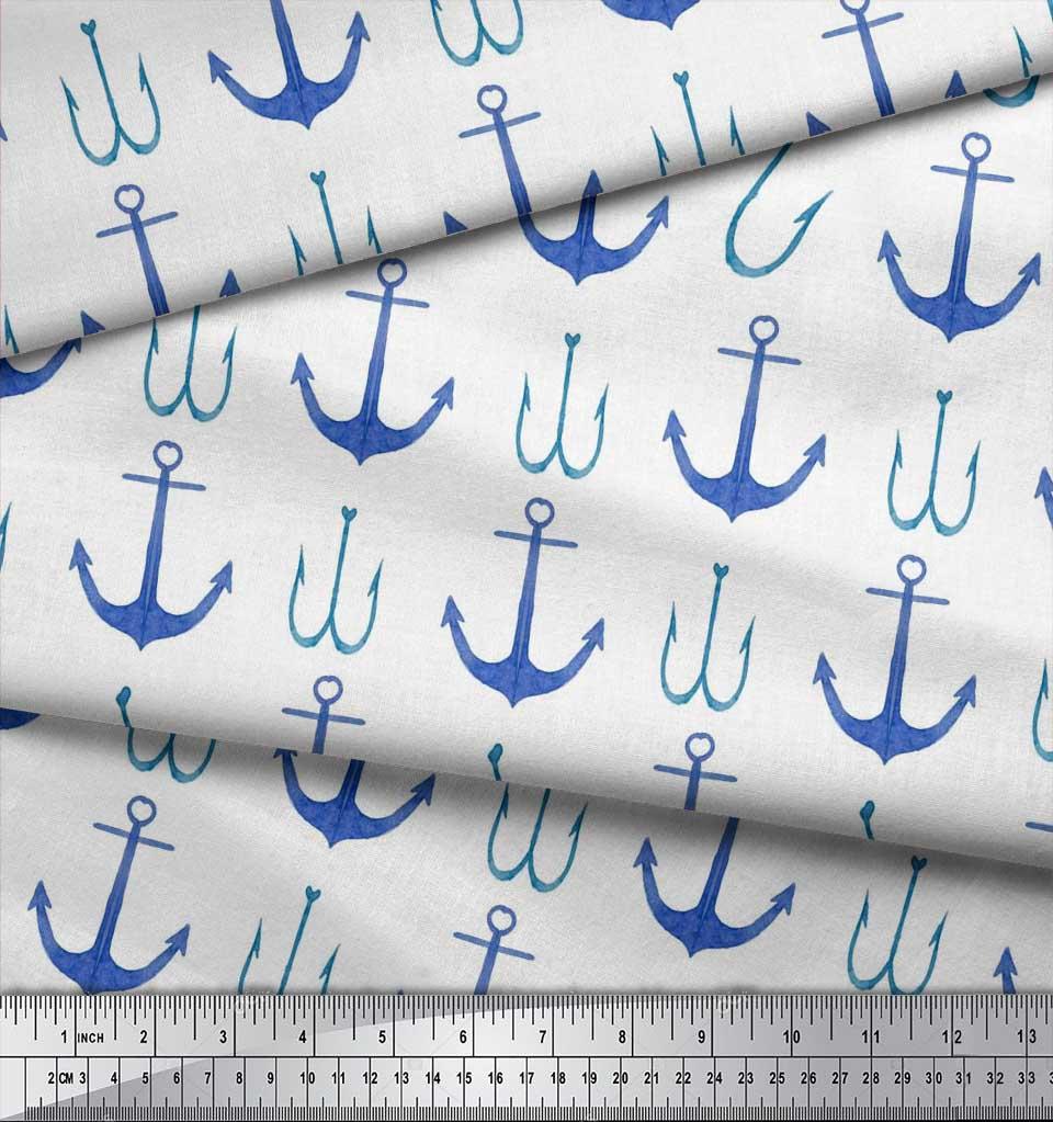 Soimoi-White-Cotton-Poplin-Fabric-Anchor-Hook-Nautical-Printed-Fabric-4eT thumbnail 3