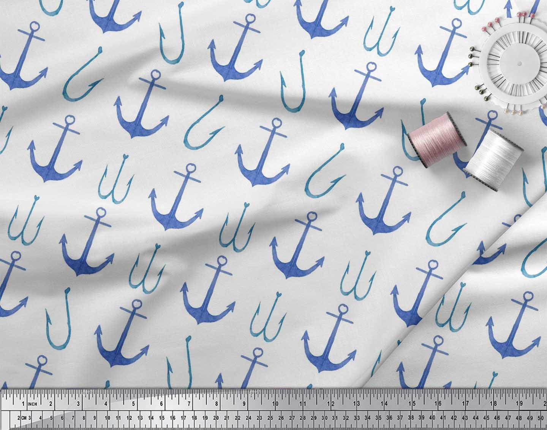 Soimoi-White-Cotton-Poplin-Fabric-Anchor-Hook-Nautical-Printed-Fabric-4eT thumbnail 4
