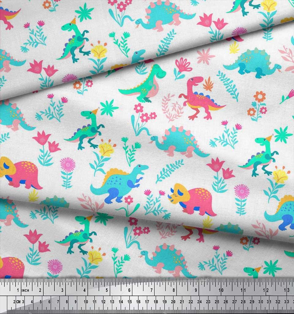 Soimoi-White-Cotton-Poplin-Fabric-Aster-Flower-amp-Dinosaur-Kids-Fabric-i9t thumbnail 3