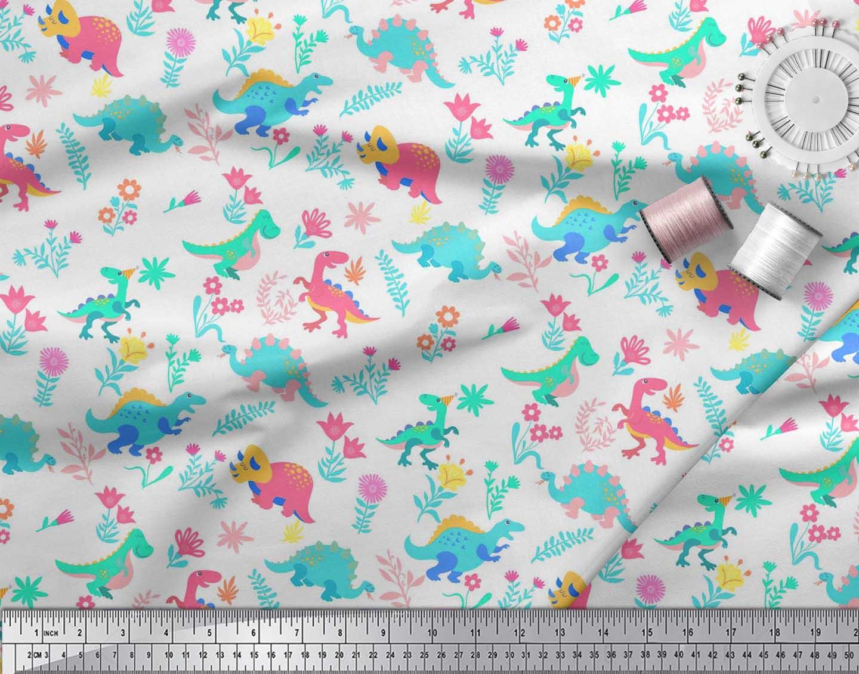 Soimoi-White-Cotton-Poplin-Fabric-Aster-Flower-amp-Dinosaur-Kids-Fabric-i9t thumbnail 4